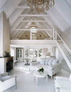 Loft studio with an all white theme
