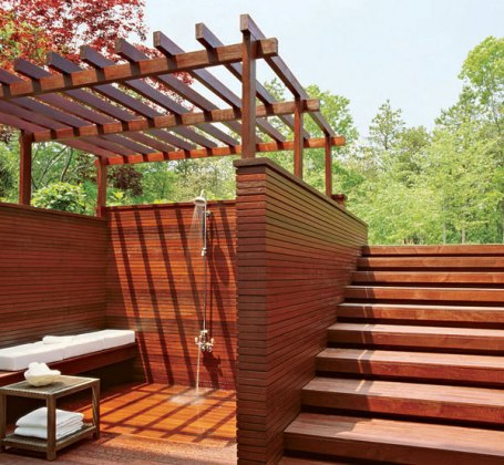 Timber outdoor shower, via kaleidoscope blog