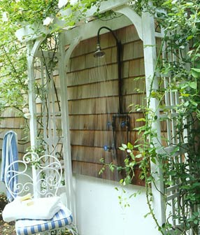 Outdoor shower, via Cottage Living