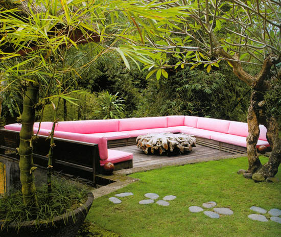 Pink cushioned outdoor seating, via Madison Living magazine