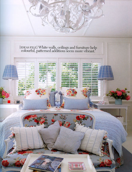 White and blue bedroom, via Madison Living magazine
