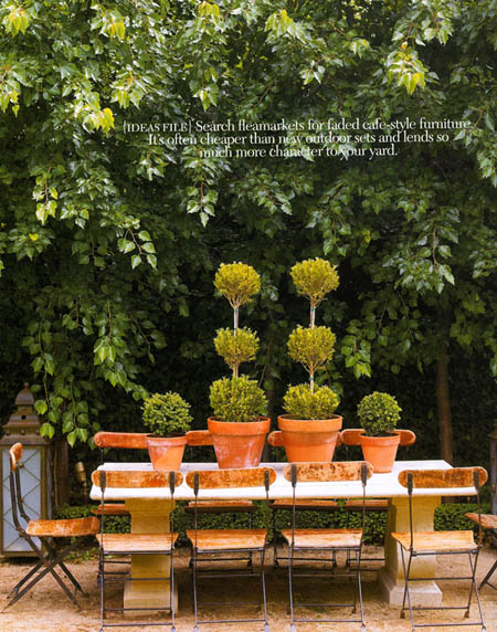 Outdoor setting with pretty topiaries, via Madison Living magazine