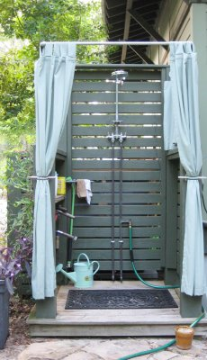 Curtained outdoor shower cubicle, via MARIE'S MARCHÉ