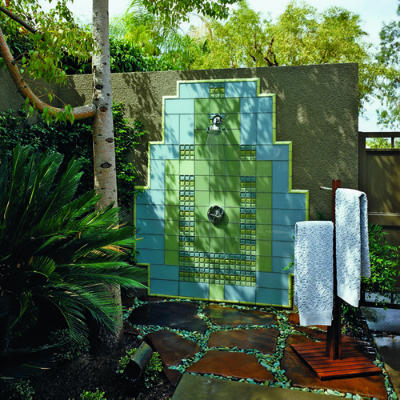 Art deco outdoor shower, via MARIE'S MARCHÉ