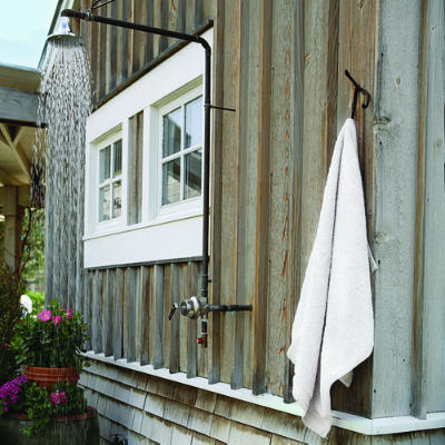 a rustic outdoor shower, via MARIE'S MARCHÉ