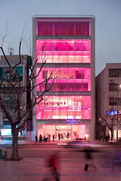 The Barbie store in Shanghai, with its neon pink windows