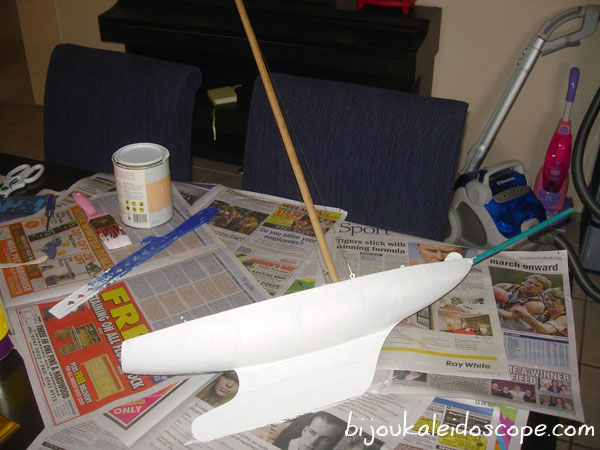 My boat with its first coat of undercoat.