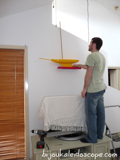 My new yellow boat being hung