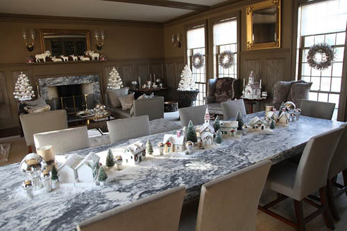 Martha Stewart's Christmas 2009 decor; glittered trees lining the dining table