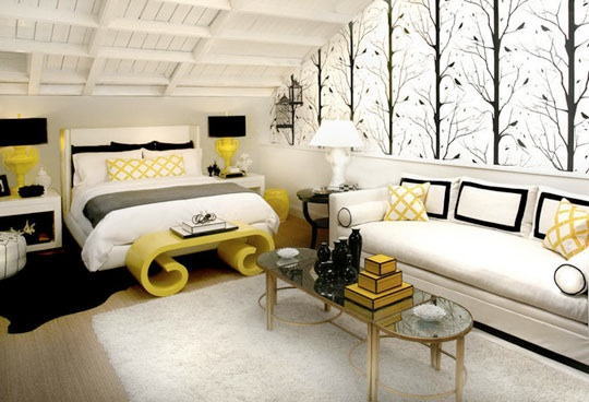 Gorgeous bedroom in black, white and yellows