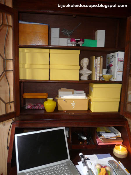 My secretaire on with yellow boxes and bits