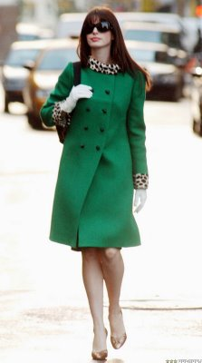Anne Hathaway's Enviable Vintage Green Coat
