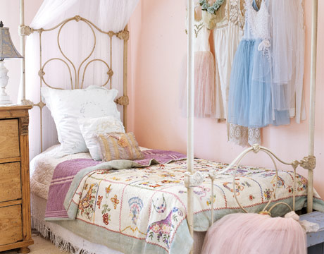 Pale blue frock in shabby bedroom, via Country Living
