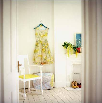 Yellow vintage dress against white walls, via Debi Treloar