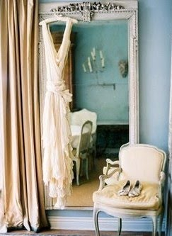 Pale long dress in boudoir