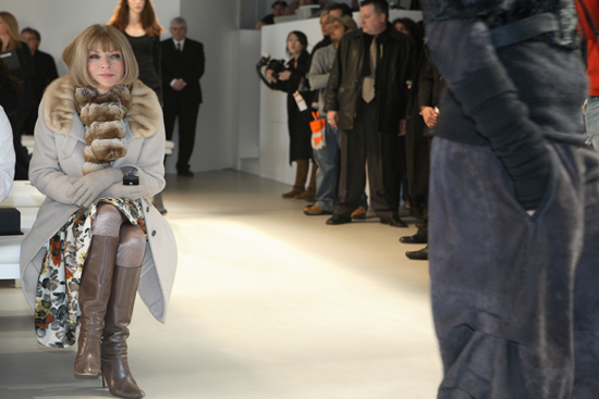 Anna Wintour by the catwalk, The September Issue