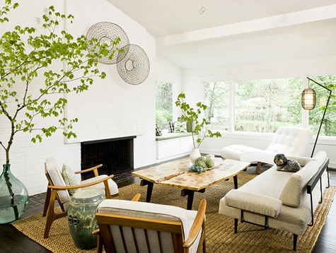 White bright living room with big green leaves