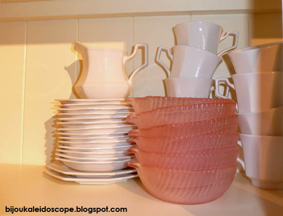My Johnson Bros Heritage White and vintage pink sweet dishes