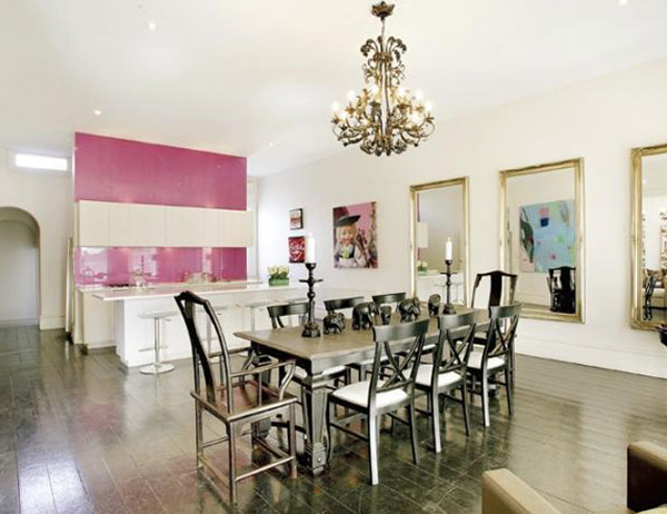 Glass pink splashback in a dining room in a Melbourne home