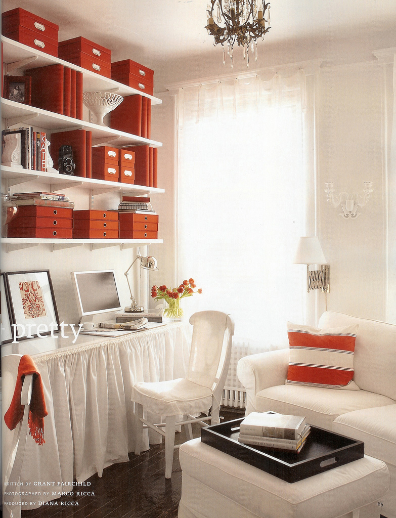 Red and white office, via Country Home