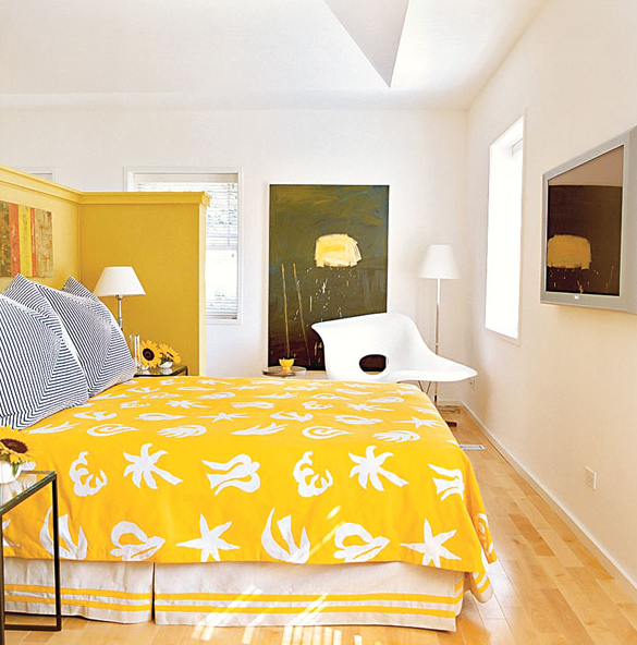 Yellow and white bedspread with short yellow half wall