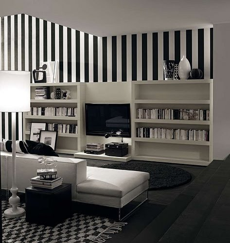 Black and white stripes in the monochromatic living room, via mobileffe