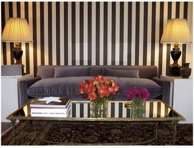 Symmetry of black and white stripes  echoed in furnishings, via Anne Coyle