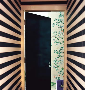 A black and white striped hallway leading to a room with birds and flowers on the wall, via Domino Mag