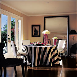 Black and white tablecloths in a dining room