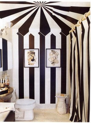 Black and white striped tented bathroom