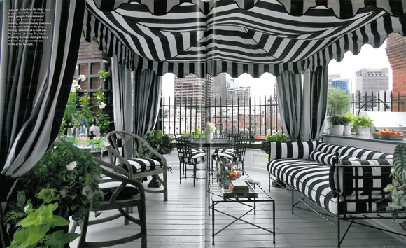 Tented black and white outdoor porch, via Weena & Spook