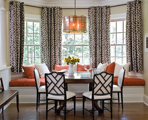 Coral, white and tans with Chinese Chippendale chairs make a dining nook beautiful, via Sherill Canet