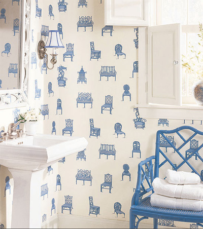 A blue Chinese Chippendale chair in a Thibaut wallpapered bathroom, via Thibaut