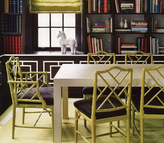 Chartruese Chinese Chippendale chairs in a cozy dining room, via Elle Decor