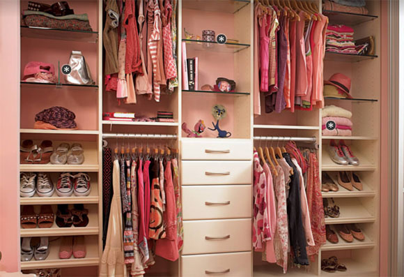 Pink closets, pink clothing and pink accessories