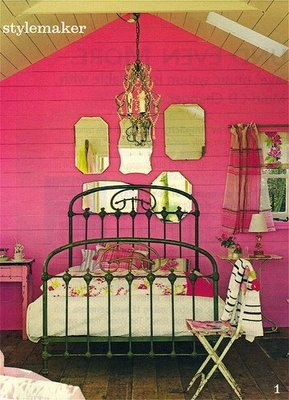 Pink and yellow-in-gold-tints in a vintage-esque bedroom