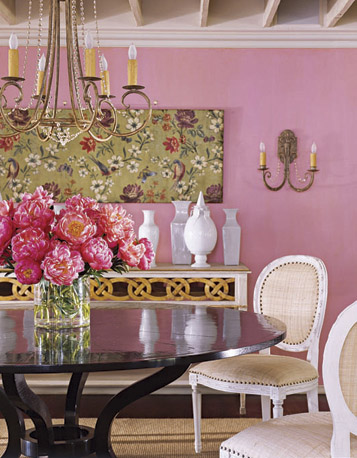 Sweet pink and floral dining space, via Country Living
