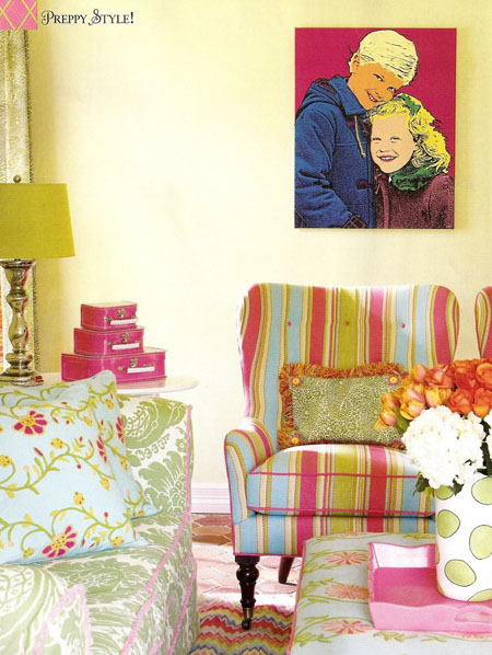 Pink and yellow candy living room, via D Home Magazine