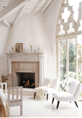 Cathedral windows in living space, via Kelly Harmon