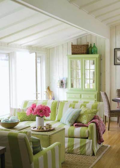 Cozy, yet fresh living room with green tones, via Country Home
