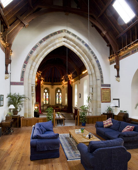 Living room in converted church