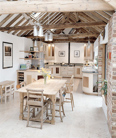 Rustic kitchen dining