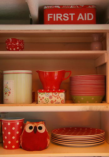 Red, white and green kitchenware, via Constance, via Snail Trail, UK.