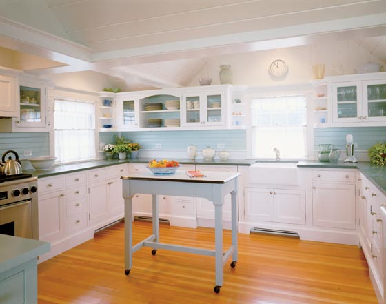 Kitchen in Chappaquiddick Beach Cottage, via Hutker Architect.