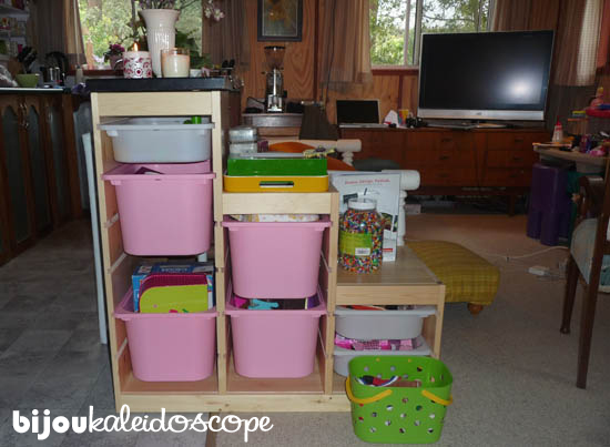 The IKEA Trofast solution to coffee table and toy storage