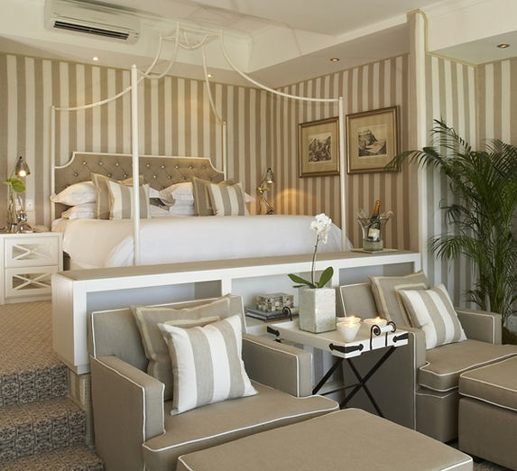 Taupe and white stripes bedroom