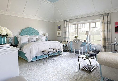 Grey and blue and white bedroom