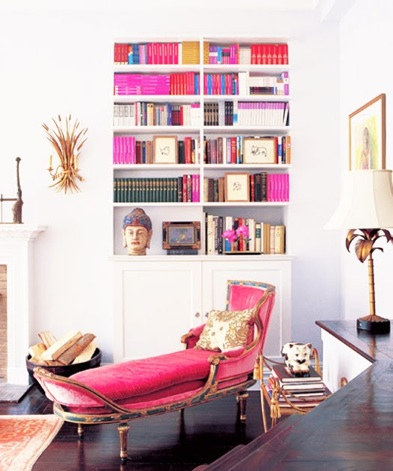Pink and gold/gilt chaise lounge in all white reading corner
