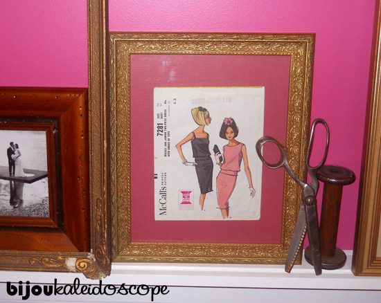 My vintage gilt frame with a vintage knitting pattern and pink matteboard.