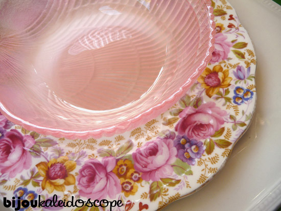 My Favourite Coupling so far. Royal Albert, Johnson Bros Heritage White and a vintage pink dessert bowl